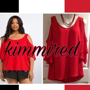 🆕Torrid Red Georgette Cold Shoulder Top ~ 3X ~NWT